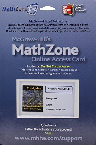 MathZone Access Card for Prealgebra: Miller, Julie, O'Neill,