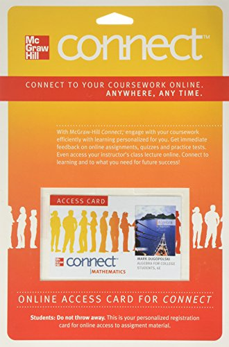 9780077353186: Connect Math Access Card for Algebra for College Students
