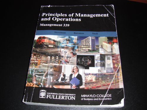 Principles of Management and Operations (Management 339 for California State University, Fullerton)