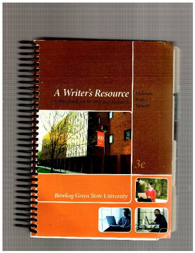 A Writer's Resource-bowling Green State University: Elaine P. Maimon