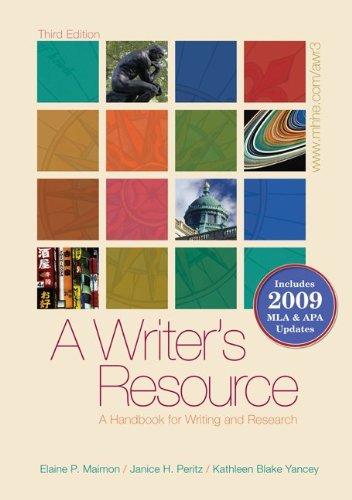9780077368791: A Writer's Resource (spiral-bound) 2009 APA & MLA Update, Student Edition