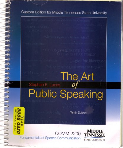9780077381356: The Art of Public Speaking 10th Addition Custom Made for Middle Tn State University