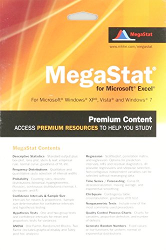 9780077426279: MegaStat for Excel 2007, 2010, and 2013 Access Card