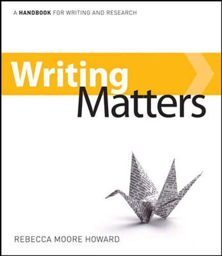 9780077429645: Writing Matters: A Handbook for Writing and Research