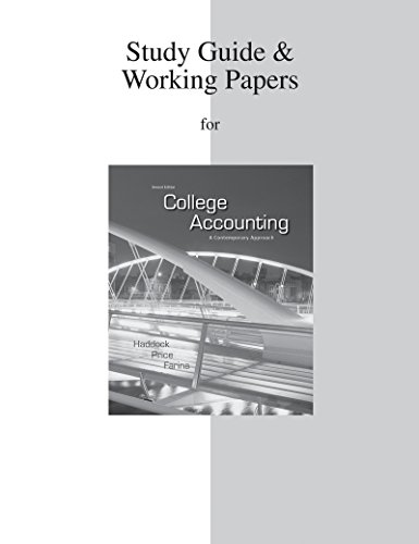 9780077430740: Study Guide/ Working Papers for College Accounting
