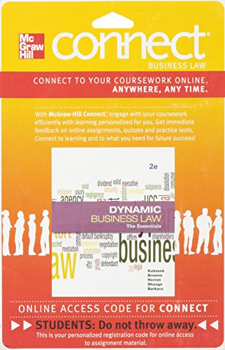 9780077437381: Connect Business Law 1 Semester Access Card for Dynamic Business Law: The Essentials