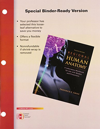 9780077442910: Loose Leaf Version of Regional Human Anatomy Lab Workbook
