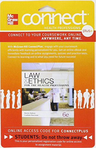 9780077445430: Connect Plus for Law & Ethics for the Health Professions
