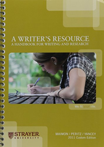 9780077459345: A Writer's Resource: A Handbook for Writing and Research (2011 Custom Edition for Strayer University)