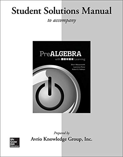 9780077483548: Student Solutions Manual for Prealgebra with P.O.W.E.R. Learning