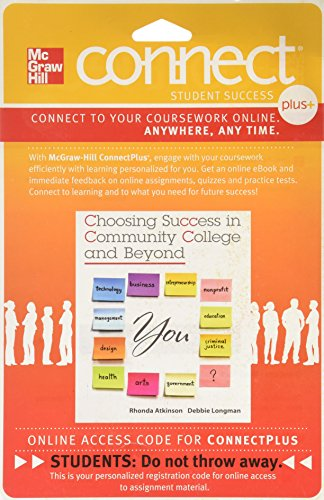 9780077488208: Connect Plus Student Success 1 Semester Code Card for Choosing Success in Community College and Beyond