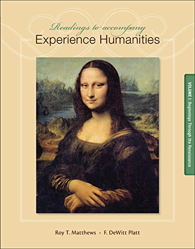 9780077494728: Readings to Accompany Experience Humanities Volume 1: Beginnings through the Renaissance