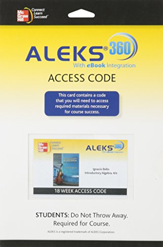 9780077517687: ALEKS 360 ACCESS CARD (18 WEEKS) FOR BELLO INTRODUCTORY ALGEBRA