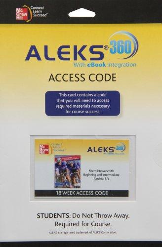9780077517885: ALEKS 360 Access Card 18 Weeks for Beginning and Intermediate Algebra
