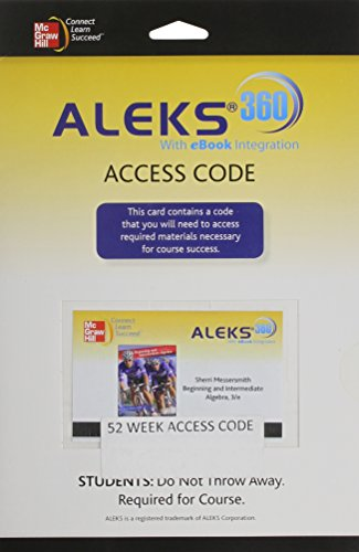 9780077517908: Beginning and Intermediate Algebra Aleks 360 Access Card (52 Weeks)