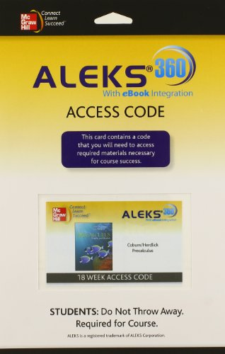 9780077518035: ALEKS 360 Access Card 18 Weeks for Coburn Precalculus: Graphs & Models