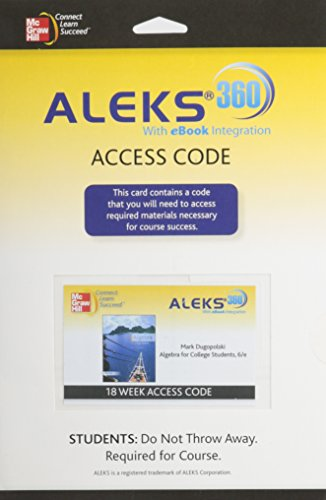 9780077518370: ALEKS 360 ACCESS CARD (18 WEEKS) FOR ALGEBRA FOR COLLEGE STUDENTS