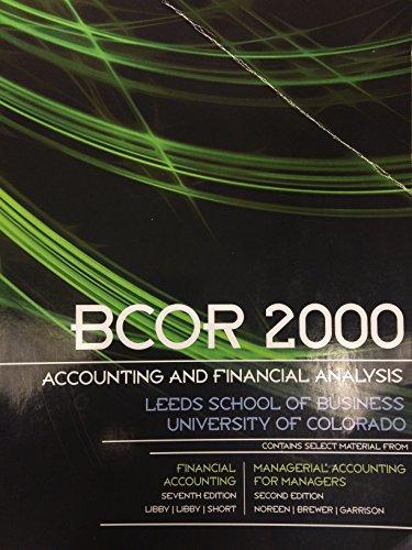 9780077530372: BCOR 2000 Accounting and Financial Analysis