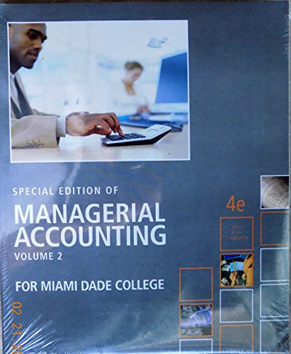 9780077542719: Special Edition of Managerial Accounting Volume 2 for Mdc