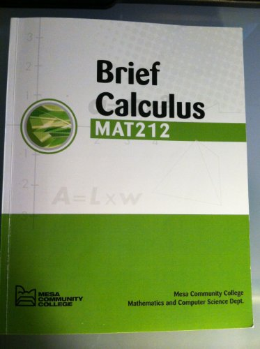 9780077550912: Brief Calculus MAT 212 Mesa Community College