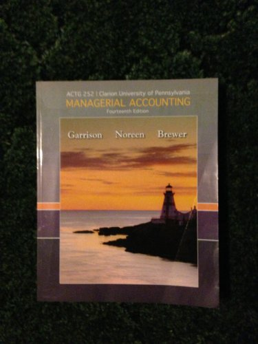 Managerial Accounting for Clarion University of Pennsylvania: n/a