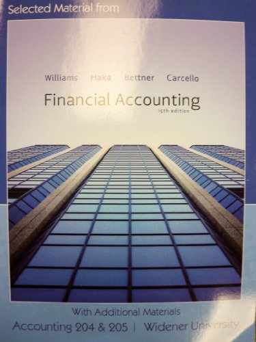 9780077581367: Financial Accounting 15th Ed (Additional Material for Widener University | Accounting 204 & 205)