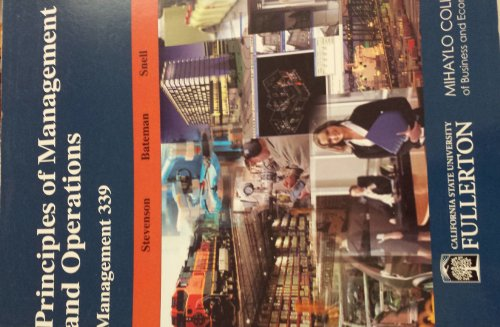 9780077588601: Principles of Management and Operations (Management 339 Calstate Fullerton)