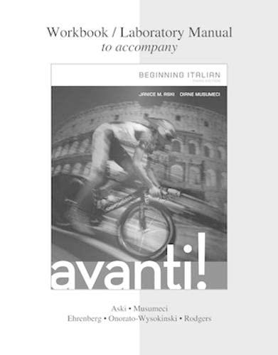 9780077595661: Workbook / Laboratory Manual for Avanti : Beginning Italian, 3rd Edition
