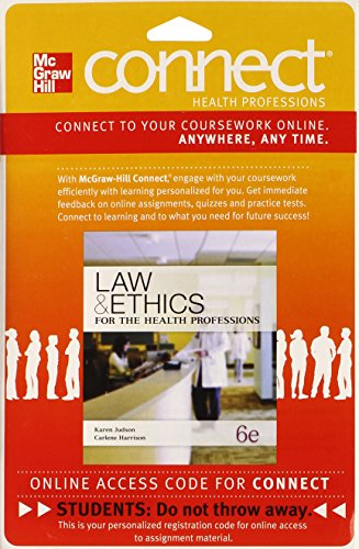 9780077608668: Connect Access Card for Law & Ethics for Medical Careers