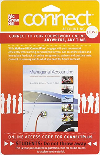 Connect 1-Semester Access Card for Managerial Accounting: Hilton, Ronald, Platt,