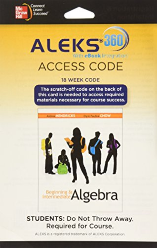 9780077635039: ALEKS 360 Access Card (18 weeks) for Beginning & Intermediate Algebra