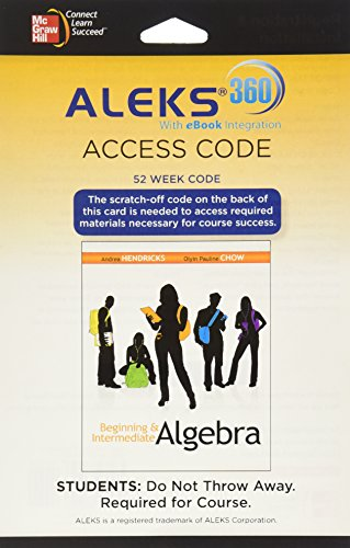 9780077635053: ALEKS 360 Access Card (52 weeks) for Beginning & Intermediate Algebra