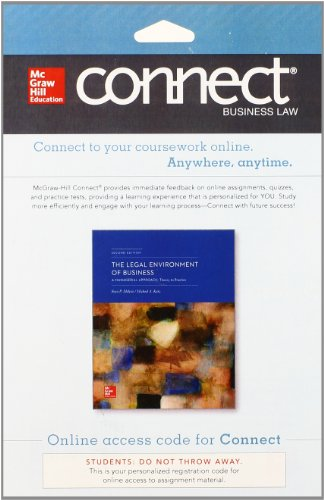 9780077638429: Connect Legal Environment 1 Semester Access Card for The Legal Environment of Business: A Managerial Approach: Theory to Practice