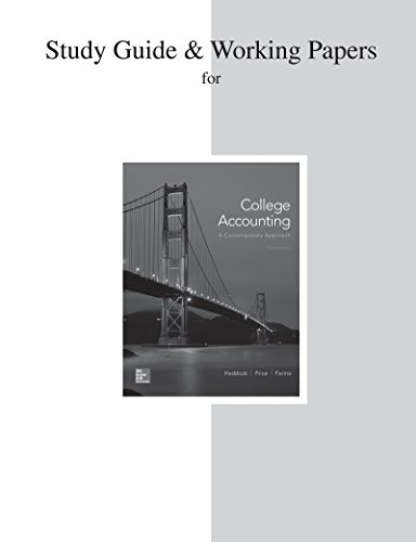 9780077639785: Study Guide and Working Papers for College Accounting (A Contemporary Approach)