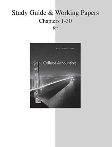 9780077639891: Study Guide and Working Papers for College Accounting (Chapters 1-30)