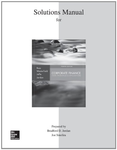 9780077650414: Solutions Manual to accompany Corporate Finance: Core Principles and Applications