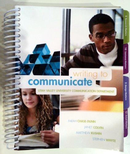 9780077678807: Writing to Communicate Utah Valley University (Utah Valley University Communication Department)
