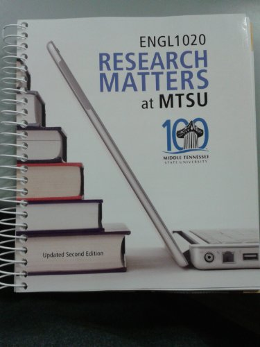 Research Matters - Middle Tennessee State University ENGL 1020: n/a
