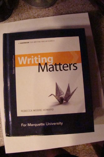 9780077694371: Writing Matters (For Marquette University)