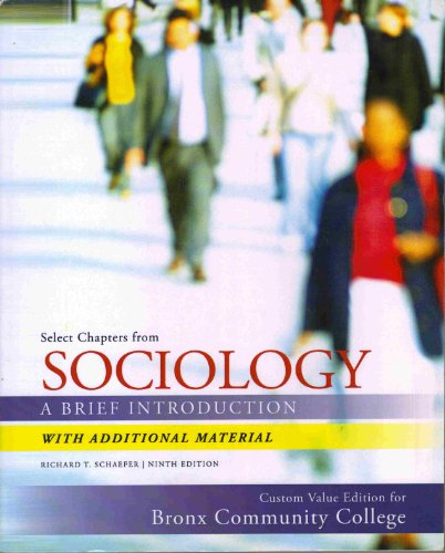9780077700942: Select Chapters From Sociology - A Brief Introduction (Custom Value Edition for Bronx Community College)