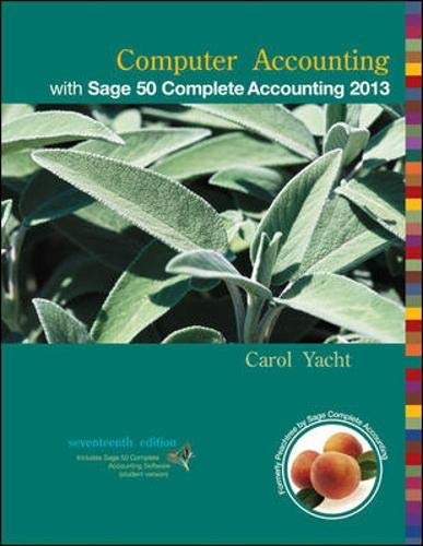 9780077738440: Computer Accounting with Sage 50 Complete Accounting 2013
