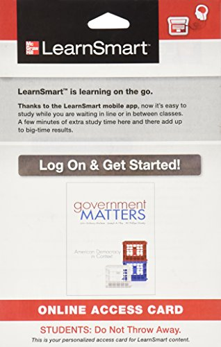 9780077767600: LearnSmart Access Card for Government Matters