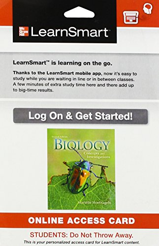 9780077771355: LearnSmart Access Card for Biology: Concepts and Investigations