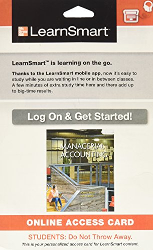9780077775322: LearnSmart Access Card for Managerial Accounting