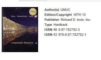9780077825683: Corporate Finance, 10th Ed (UMUC Custom Edition) ISBN-13 978-0-07-782702-1 BOOK ONLY (UMUC Corporate Finance 10th Edition)