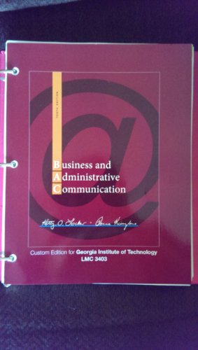9780077830106: Business Administrative Communication, 10th Edition