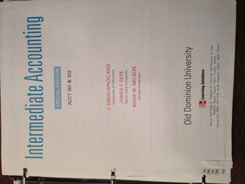 9780077832841: Intermediate Accounting for Old Dominion University (ODU) ACCT 301 & 302