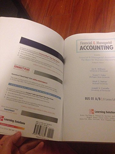 9780077837853: Financial & Managerial Accounting. Business 01 A/B El Camino College