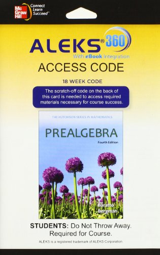 9780077843250: ALEKS 360 Access Card (18 weeks) for Prealgebra