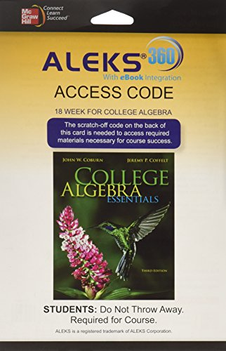 9780077845858: ALEKS 360 Access Card (18 weeks) for College Algebra Essentials